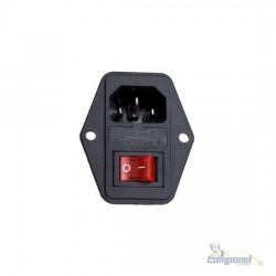 Jack Macho Painel AC 2P+T 10A + Porta Fusivel + Chave L/D (Fax/monitor)